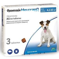 Фронтлайн НексгарД таблетки от блох и клещей для собак 4-10 кг 28,3 мг, 3 шт. в упаковке