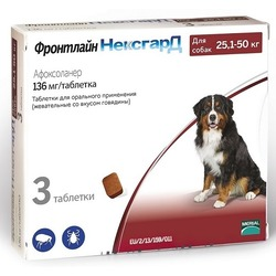 Фронтлайн НексгарД таблетки от блох и клещей для собак 25-50 кг 136 мг, 3 шт. в упаковке