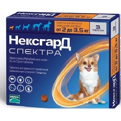 НексгарД Спектра таблетки от блох, клещей и гельминтов для собак 2-3,5 кг, 3 шт. в упаковке
