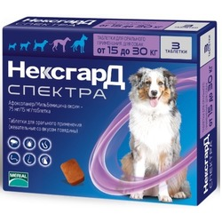 Merial Фронтлайн НексгарД Спектра таблетки от блох, клещей и гельминтов для собак 15-30 кг, 3 шт. в упаковке