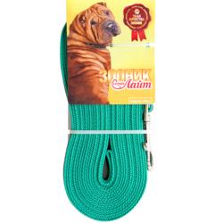 Зооник поводок нейлоновый с латексной нитью (прорезиненный), серия Лайт, цвет зеленый