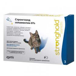 Stronghold Стронгхолд капли для кошек от блох, клещей и гельминтов, 6%, 0,75 мл, 3 пипетки в упаковке