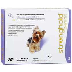 Stronghold Стронгхолд капли для собак от 2,5 до 5 кг от блох, клещей и гельминтов, 12%, 0,25 мл, 3 пипетки в упаковке