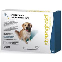 Stronghold Стронгхолд капли для собак от 20 до 40 кг от блох, клещей и гельминтов, 12%, 2 мл, 3 пипетки в упаковке