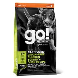 GO! Natural holistic беззерновой сухой корм для щенков всех пород 4 вида мяса: Индейка, Курица, Лосось, Утка , GO! CARNIVORE GF