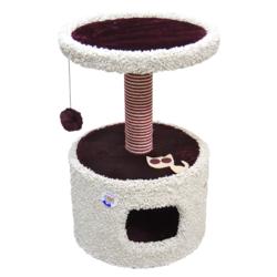 Зооник домик-когтеточка для кошек, 46*46*70 см, бордовый