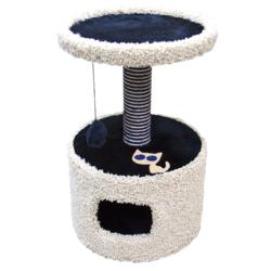 Зооник домик-когтеточка для кошек, 46*46*70 см, синий