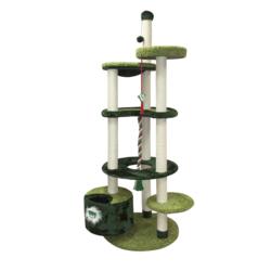 Зооник многоуровневый игровой комплекс для кошек, 96*84*221 см, зеленый
