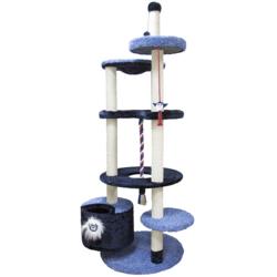 Зооник многоуровневый игровой комплекс для кошек, 96*84*221 см, синий