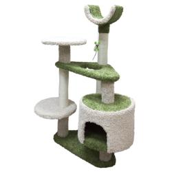 Зооник многоуровневый игровой комплекс для кошек, 103*62*130 см, зеленый