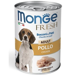 Monge Dog Fresh Chunks in Loaf консервы для собак мясной рулет курица 400г
