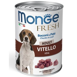 Monge Dog Fresh Chunks in Loaf консервы для собак мясной рулет телятина 400г