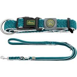 Hunter комплект: ошейник Hilo Vario Plus (40-60 см) + перестежка Hilo (2 м х 2 см), цвет бирюзовый