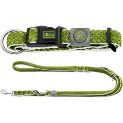 Hunter комплект: ошейник Hilo Vario Plus (40-60 см) + перестежка Hilo (2 м х 2 см), цвет лайм