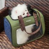 Ibiyaya складная сумка-переноска для кошек и собак до 6 кг Portico Mixed-fabric Pet Transporter, прозрачная с зеленым