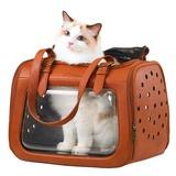 Ibiyaya складная сумка-переноска для кошек и собак до 6 кг Portico Deluxe Leather Pet Transporter, прозрачная с коричневой кожей