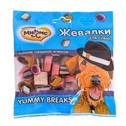 """Мнямс лакомство для собак """"Жевалки YUMMY BREAKS"""" с курицей, говядиной и ягненком"""