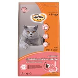 Мнямс Skin&Coat Сухой корм с лососем для взрослых кошек для кожи и шерсти