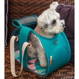 Ibiyaya складная сумка-переноска для кошек и собак The Bubble Hotel Semi-transparent Pet Carrier -Turquoise