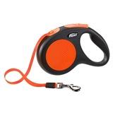 Flexi поводок-рулетка для собак до 25 кг, 5 метров, лента, New Neon M, цвет оранжевый