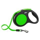 Flexi поводок-рулетка для собак до 25 кг, 5 метров, лента, New Neon M, цвет зеленый