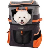 Ibiyaya рюкзак-трансформер для собак и кошек до 12 кг, цвет серо-оранжевый, Two-tier Pet Backpack