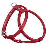 Hunter шлейка для собак Round & Soft Luxus Elk Petit, натуральная кожа лося, кристаллы, цвет красный чили
