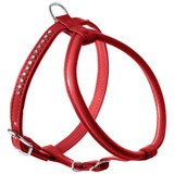 Hunter шлейка для собак Modern Art Round & Soft Petit Luxus, кожзам, кристаллы, цвет красный
