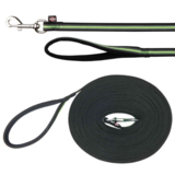 Trixie Поводок прорезиненный с мягкой ручкой Fusion, цвет черный с зеленым