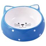 КерамикАрт миска керамическая для кошек 250 мл Мордочка кошки голубая