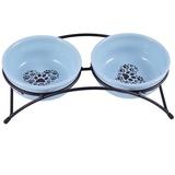 КерамикАрт миски на подставке для собак и кошек двойные 2x290 мл синие
