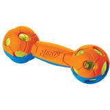 Nerf Игрушка для собак Гантель двухцветная светящаяся, 17,5 см